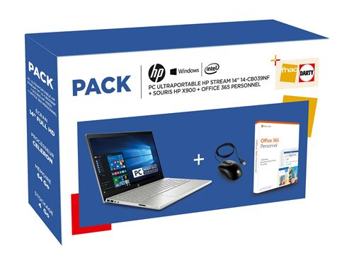 Pack PC Ultra-Portable HP Stream 14-cb039nf 14 + Souris X900 + Office 365 Personnel 1 an dabonnement