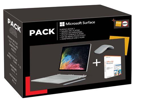 Pack PC Hybride Microsoft Surface Book 2 13.5 Tactile Intel Core i5 8 Go RAM 256 Go SSD + Adaptateur USB-C vers HDMI + Stylet Platine + Kit de mines pour stylet + Souris Arc Platine + Office 365 Personnel