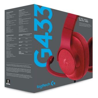Casque Gaming Filaire Logitech G433 7.1 Surround Rouge