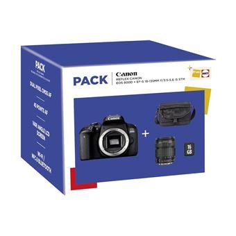 Fnac Pack Canon EOS 800D Reflex Camera Zwart + EF-S 18-135mm f/3.5-5.6 IS STM Lens + Draagtas + 16GB SD-Kaart