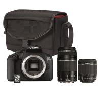 Canon EOS 2000D SLR Camera + Lens EF-S 18-55mm + Lens EF 75-300mm + Tas SB130 + SD-Kaart 16GB