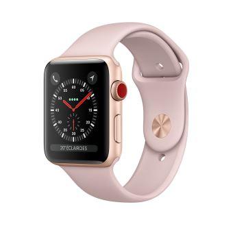 Apple Watch Series 3 Cellular 38 mm Boîtier en Aluminium Or avec Bracelet Rose des sables