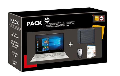 Pack PC Ultra-Portable HP ENVY 13-aq1003nf 13.3 Intel Core i7 8 Go RAM 512 Go SSD Argent naturel + Souris rechargeable HP ENVY 500 Noir + Housse de protection réversible 14 Noir + Microsoft 365 Personnel 1 an