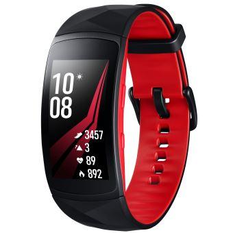 Samsung Gear Fit 2 Pro Verbonden Armband Zwart en Rood Maat S