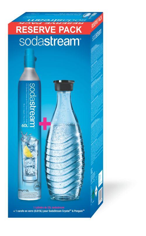 Pack Réserve Cylindre C02 Sodastream avec une carafe de service en verre