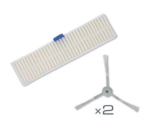 Kit de rechange pour aspirateur robot Rowenta 2 Brossettes latérales avec 1 filtre à poussière fine ZR740002 Blanc