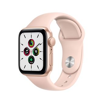 Apple Watch SE GPS, 40 mm gouden aluminium kast met roze sportband