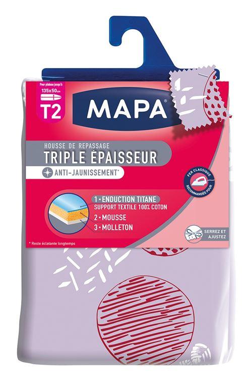 MAPA Housse Table à Repasser Triple Epaisseur Titane T2 - 135x50 cm