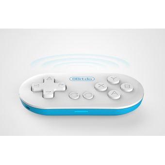 Mini Manette Gamepad Bluetooth 8bitdo FC Zero Blanche et bleue