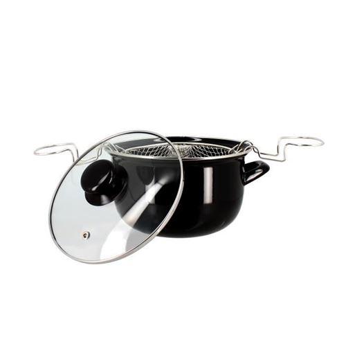 Friteuse émail Kitchenette avec couvercle 20 cm Noir