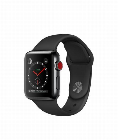 Fnac.com : Apple Watch Series 3 Cellular 38 mm Boîtier en Acier inoxydable Noir sidéral avec Bracelet Sport Noir - Montre connectée.