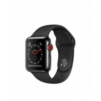 Apple Watch Series 3 Cellular 38 mm Boîtier en Acier inoxydable Noir sidéral avec Bracelet Sport Noir