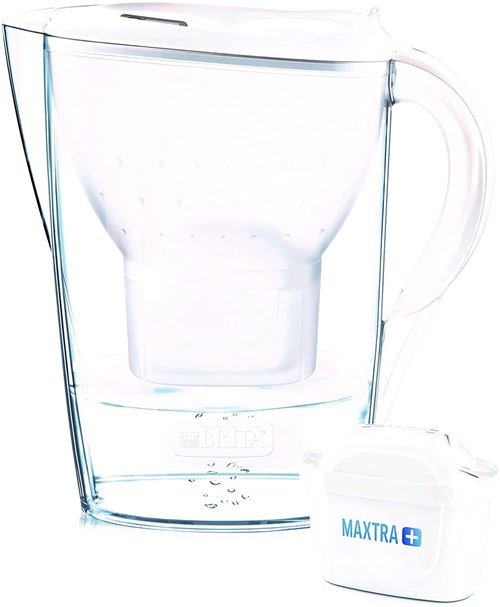 Carafe Filtrante Brita Marella et 12 Cartouches Filtrantes Maxtra+ Blanc