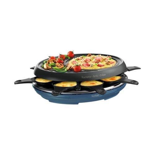 Appareil à raclette Tefal Colormania avec 8 coupelles plaque grill et crêpes 1050 W Bleu