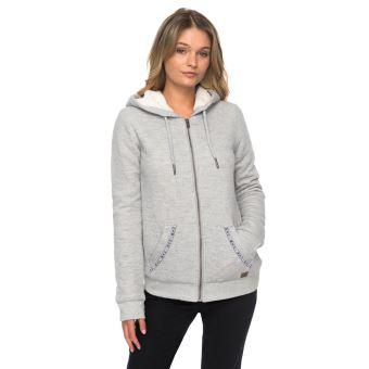 Sweat à capuche zippé Femme Roxy Trippin Sherpa Gris clair Taille XS