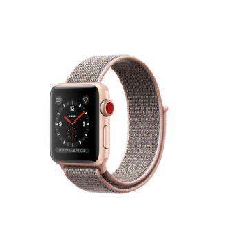 Apple Watch Series 3 Cellular 38 mm Boîtier en Aluminium Or avec Boucle Sport Rose des sables