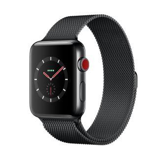 Apple Watch Series 3 Cellular 42 mm Boîtier en Acier inoxydable Noir sidéral avec Bracelet Noir Milanais