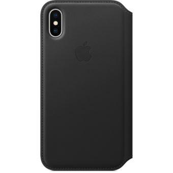 photos officielles 3e905 180ac Étui folio en cuir Apple Noir pour iPhone X