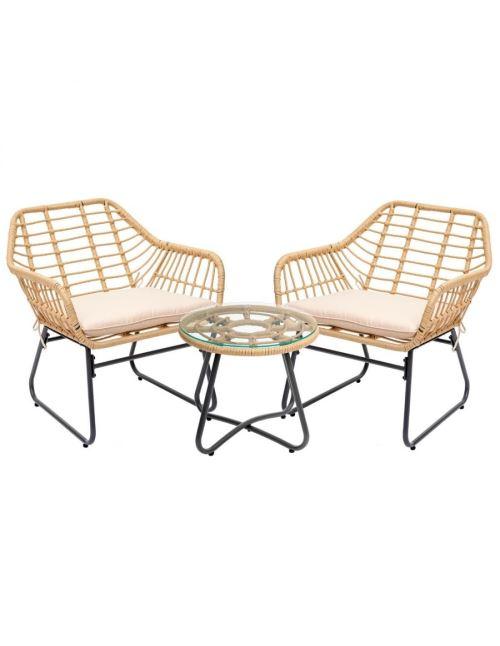 Salon de jardin Hespéride Lambada Duo 2 fauteuils et table ronde