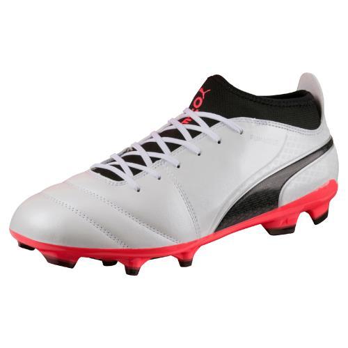 Chaussures de football Puma One 17.3 FG Blanches, noires et rouges Taille 41
