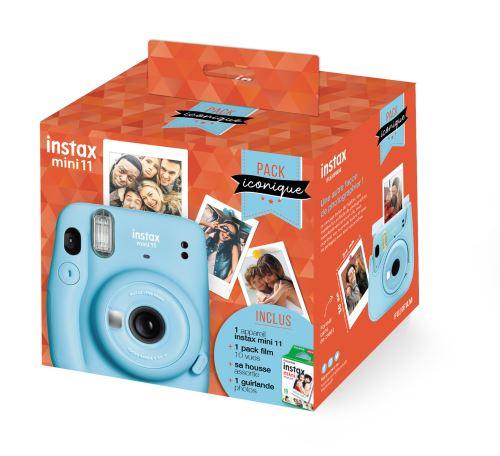 Pack Iconique Fujifilm Instax Mini 11 Bleu + Film Instax Mini 10 vues + Housse + Guirlande photo