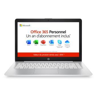 "PC Ultra-Portable HP Stream 14-ds0013nf 14"" AMD A4 4 Go RAM 64 Go eMMC Office 365 Personnel 1 an"