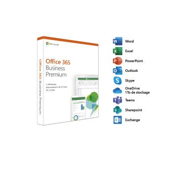 Microsoft Office 365 Business Premium - 1 utilisateur - 5 PC ou Mac + 5 tablettes + 5 smartphones - 1 an