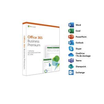 Microsoft Office 365 Business Premium - 1 utilisateur - 5 PC ou Mac + 5 tablettes + 5 smartphones - 1 an