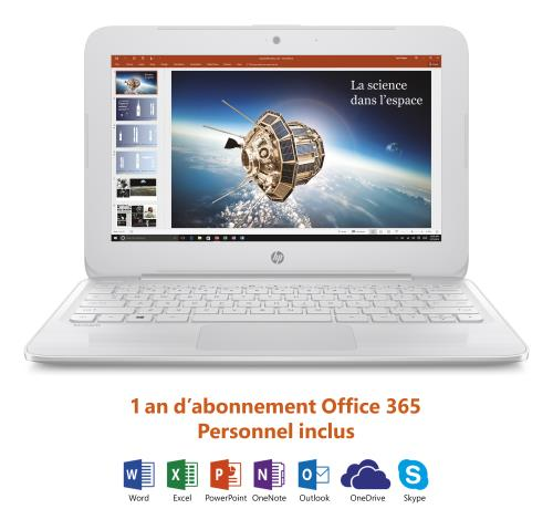PC Ultra-portable HP Stream 11-y006nf 11.6 + Office 365 personnel 1 an dabonnement inclus