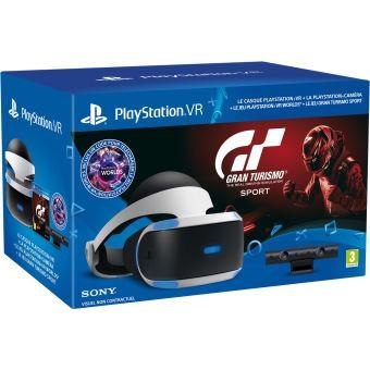 Casque de réalité virtuelle Sony PlayStation VR + Caméra PlayStation V2 + VR Worlds + Gran Turismo Sport