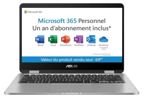 f5294bd5a369d8 Pack Fnac PC Hybride Asus VivoBook Flip TP401MA-BZ031TS 14 Tactile + Office  365 Personnel