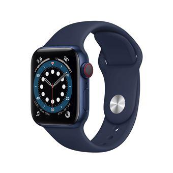 Apple Watch Series 6 GPS + Cellular, 40mm boitier aluminium bleu avec bracelet sport bleu marine