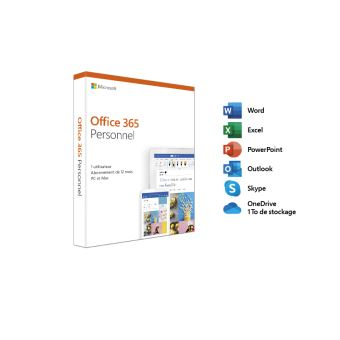 Microsoft Office 365 Personnel - 1 utilisateur - PC ou Mac - 1 an