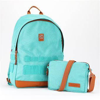 Sac à dos personnalisable et modulable Kuts Ollie 19 L Turquoise et Marron