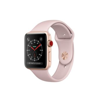 Apple Watch Series 3 Cellular 42 mm Boîtier en Aluminium Or avec Bracelet Sport Rose des sables