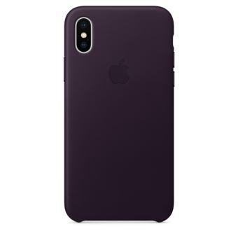 Coque en cuir Apple Aubergine pour iPhone X