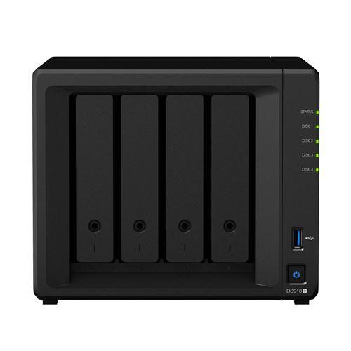 Serveur NAS Synology DiskStation DS918+ 4 baies 4 Go Noir