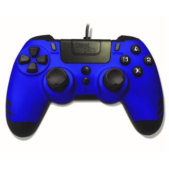 Manette PS4 filaire Steelplay MetalTech Bleu
