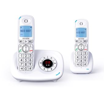 Pack de 2 Téléphones fixes sans fil Alcatel Dect XL595 Blanc pour Sénior