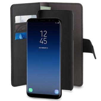 Etui folio détachable en cuir Puro Noir pour Samsung Galaxy S9