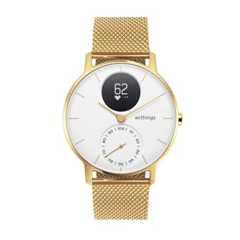 Montre connectée hybride Withings Acier HR 36 mm Or