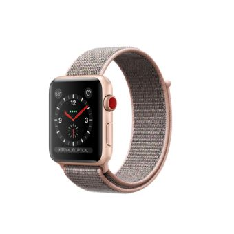 Apple Watch Series 3 Cellular 42 mm Boîtier en Aluminium Or avec Boucle Sport Rose des sables
