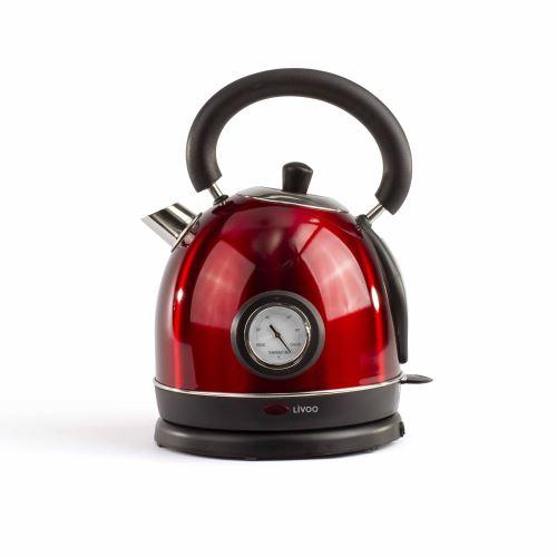 Bouilloire rétro sans fil Livoo avec thermomètre 1800 W Rouge
