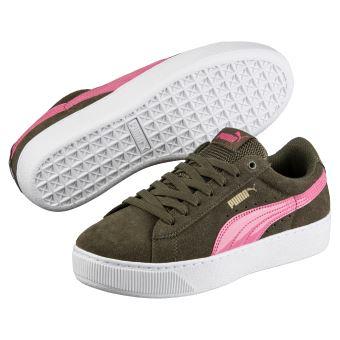Chaussures Femme Puma Vikky Platform Vert kaki et roses Taille 40