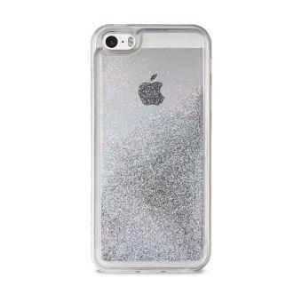 Coque Puro Pailletee Liquide Argent pour iPhone 5 5s et SE