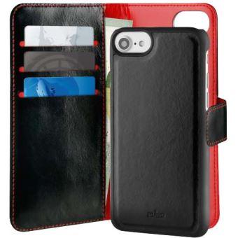 Etui Folio Puro avec magnet détachable Noir et Rouge pour iPhone 6, 6s, 7 et 8