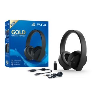 casque sans fil sony gold noir pour ps4 accessoire. Black Bedroom Furniture Sets. Home Design Ideas