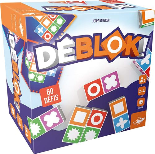 Déblok !, cest un savant mélange dobservation, de rapidité, de logique Et de frénésie ! Chaque joueur dispose de 5 blocs qui comportent chacun 8 symboles. Une carte est retournée, qui comporte un schéma. Soyez le premier à le reproduire avec vos blocs ! D