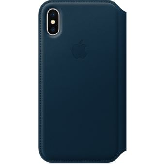 Étui folio en cuir Apple Bleu cosmos pour iPhone X