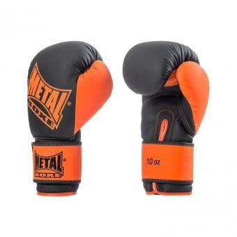 Gants d'entraînement Metal Boxe Iron Noir et Orange Taille 12 OZ